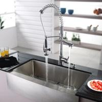 "Kraus Farmhouse 35.88"" x 20.75"" Kitchen Sink with Faucet ..."