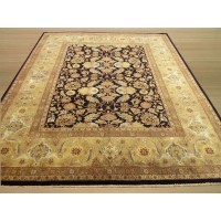 Eastern Rugs Tabriz New Zealand Hand-Knotted Black/Ivory ...