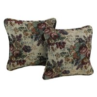 Blazing Needles Floral Tapestry Throw Pillow & Reviews ...
