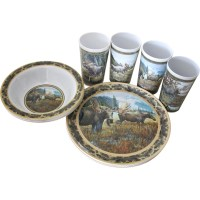 MotorHead Products Melamine 12 Piece Moose Dinnerware Set ...