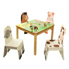 Kids Chair Set Dining Seat Covers Nz Fantasy Fields Happy Farm 5 Piece Table And