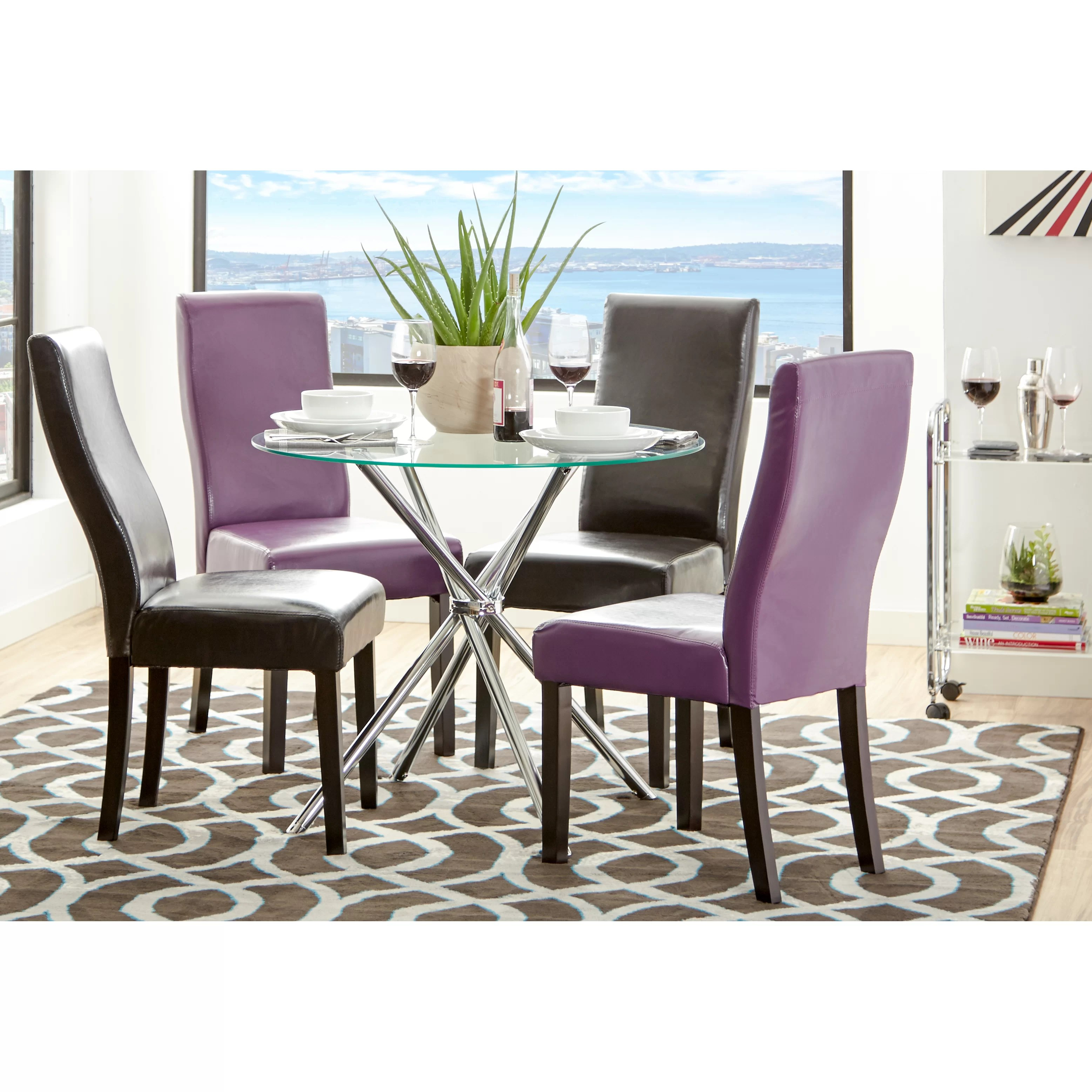 Zipcode Design Vince Glass Round Dining Table  Reviews  Wayfair