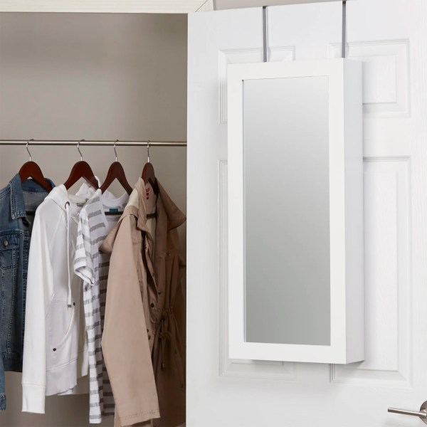 Zipcode Design Kristen Jewelry And Makeup Cabinet Over Door Armoire With Mirror