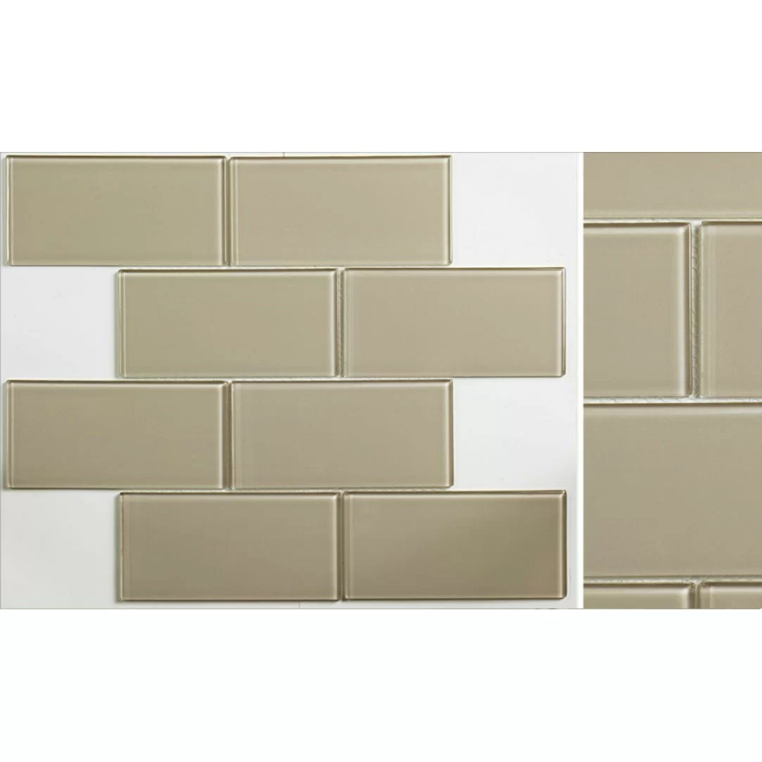 "Martini Mosaic Blocco 3"" x 6"" Glass Subway Tile in Warm"