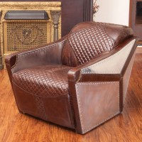Home Loft Concepts Moore Leather and Metal Club Chair ...
