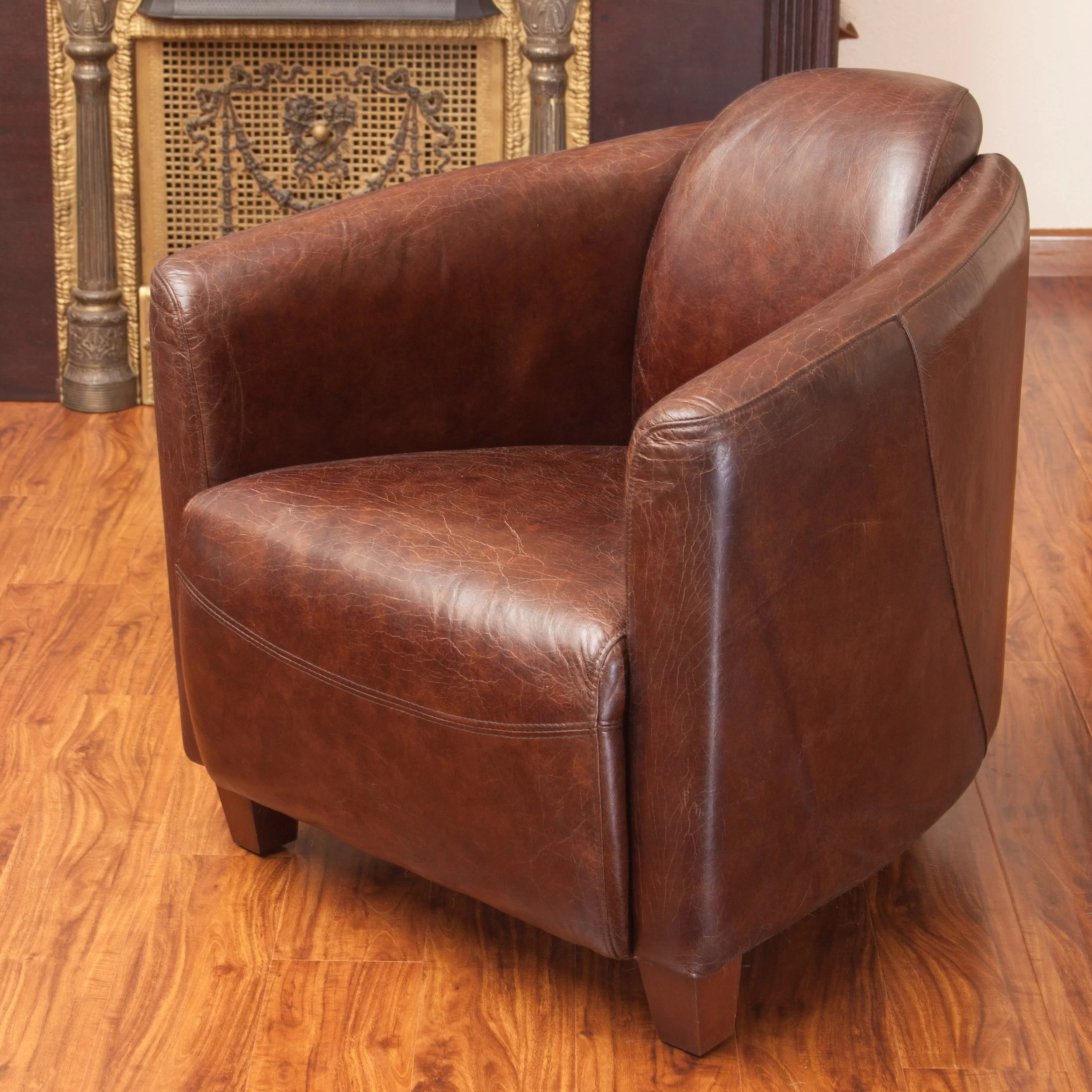 Club Chair Leather Home Loft Concepts Mcpherson Leather Club Chair And Reviews