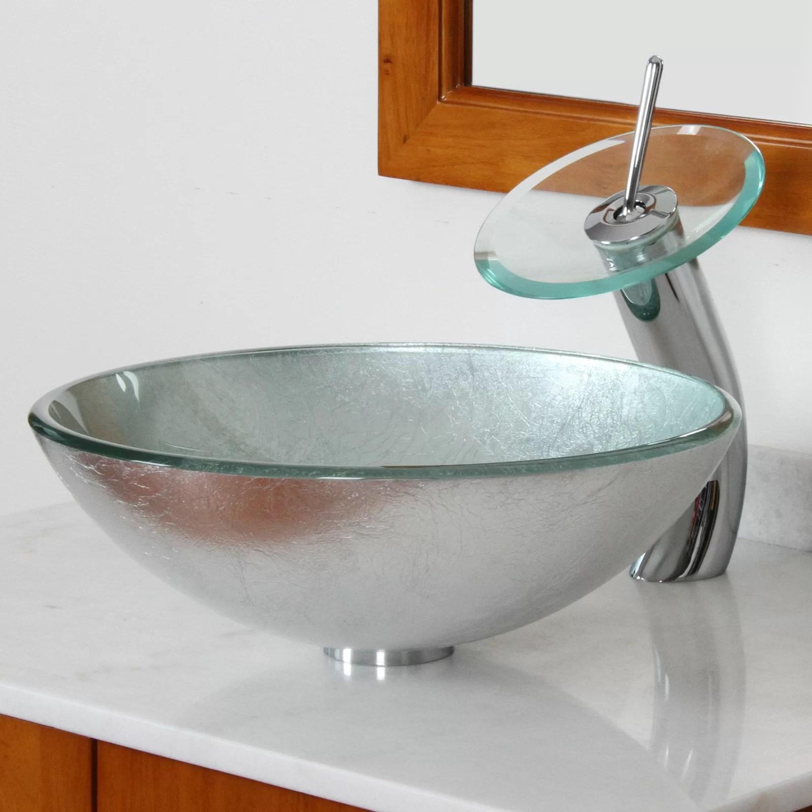 Elite Hand Painted Foil Round Bowl Vessel Bathroom Sink