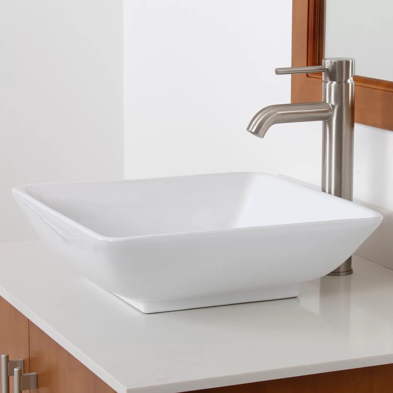 Elite Ceramic Square Bathroom Sink  Reviews  Wayfair