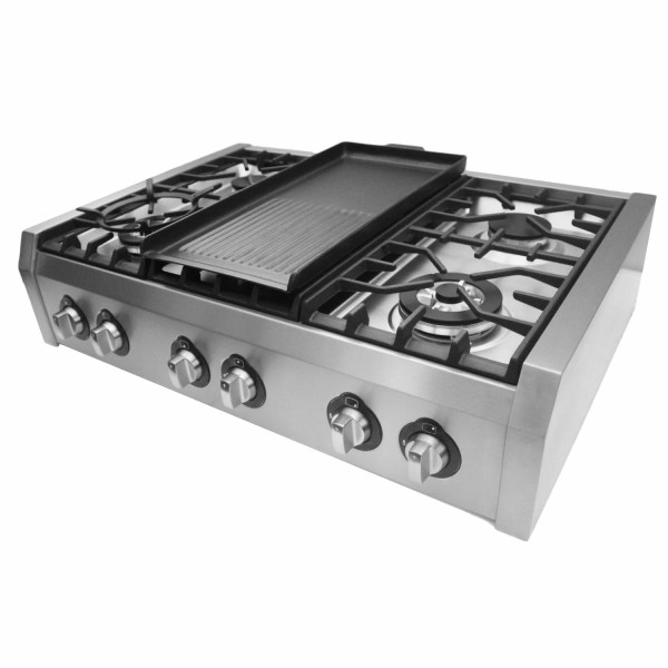 6 Burner Gas Cooktop with Griddle
