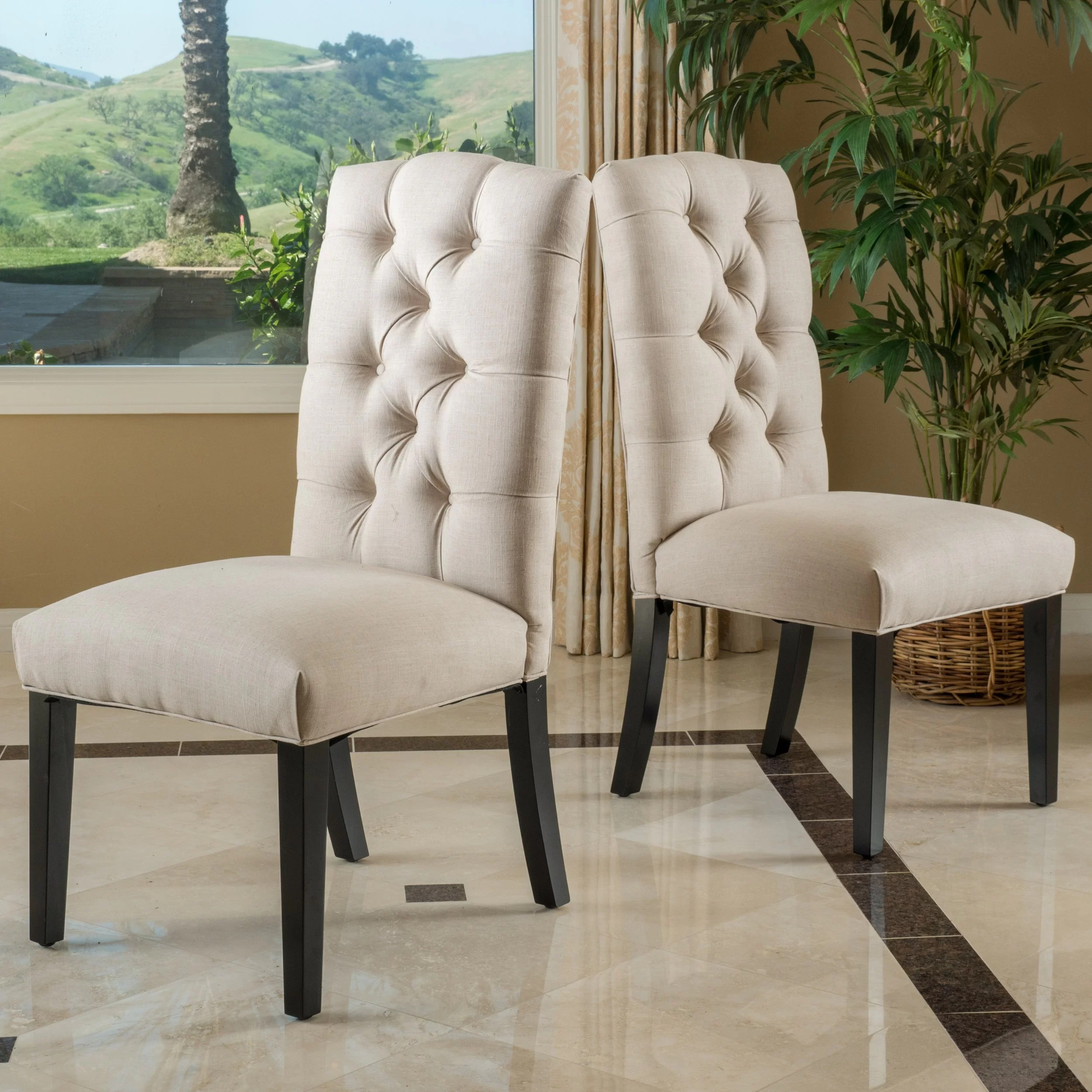Linen Tufted Dining Chairs Three Posts Tufted Linen Side Chairs And Reviews Wayfair