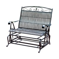 Three Posts Snowberry Iron Double Patio Glider Bench ...
