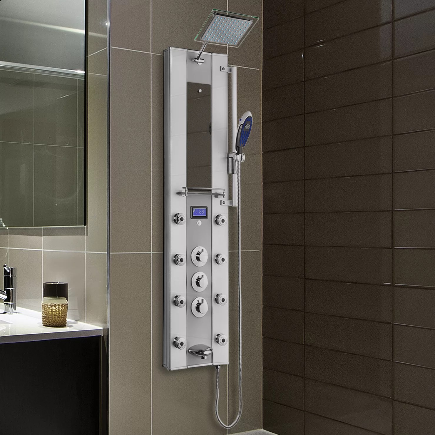 AKDY Thermostatic Tower Rainfall Shower Panel System