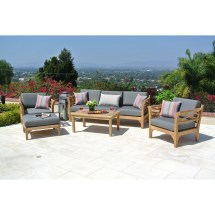 Trijaya Living Malibu Outdoor Teak 6 Piece Deep Seating