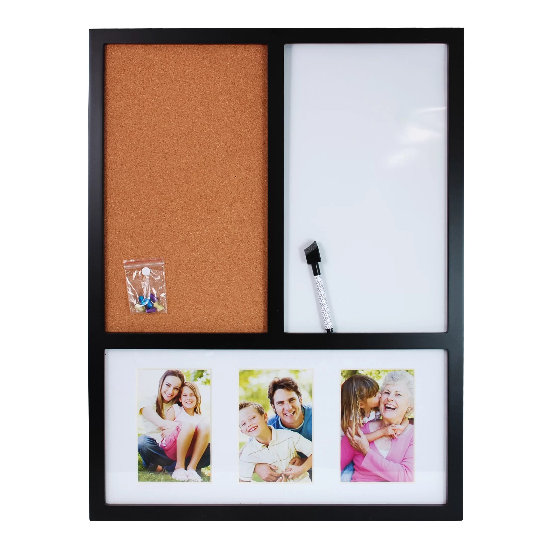 Nexxt Design Memo Board With Dry Erase And Cork Wall
