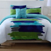 Style 212 Reversible Comforter Set in Blue & Green ...