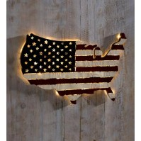 Plow & Hearth Lighted Americana Flag Art Wall Dcor ...