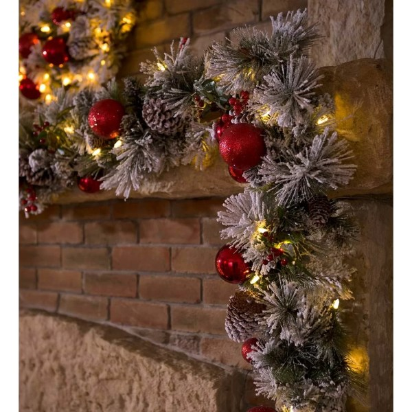 Decorated Lighted Christmas Garland