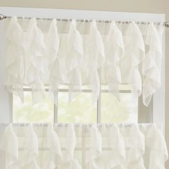 Elegant Kitchen Curtains Valances Table Chandelier Sweet Home Collection Sheer Voile Vertical Ruffle