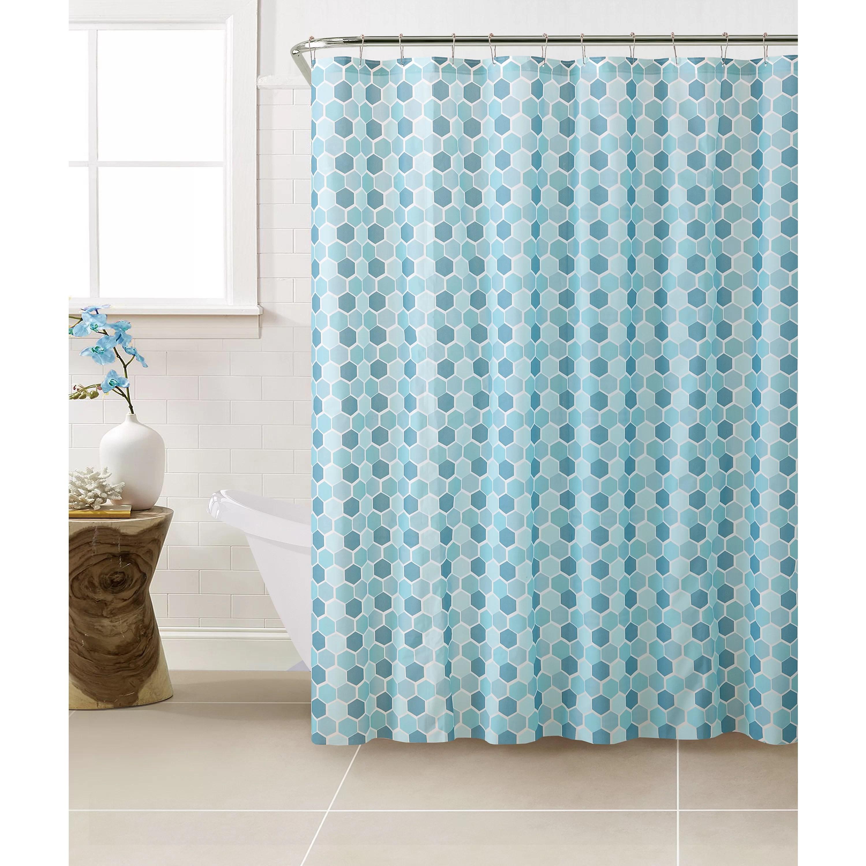 Bath Bliss PEVA Hexagon Design Shower Curtain Set  Wayfair