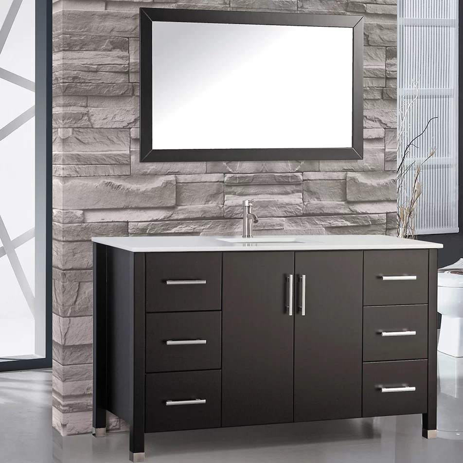 MTDVanities Monaco 60 Single Sink Bathroom Vanity Set with Mirror  Reviews  Wayfair
