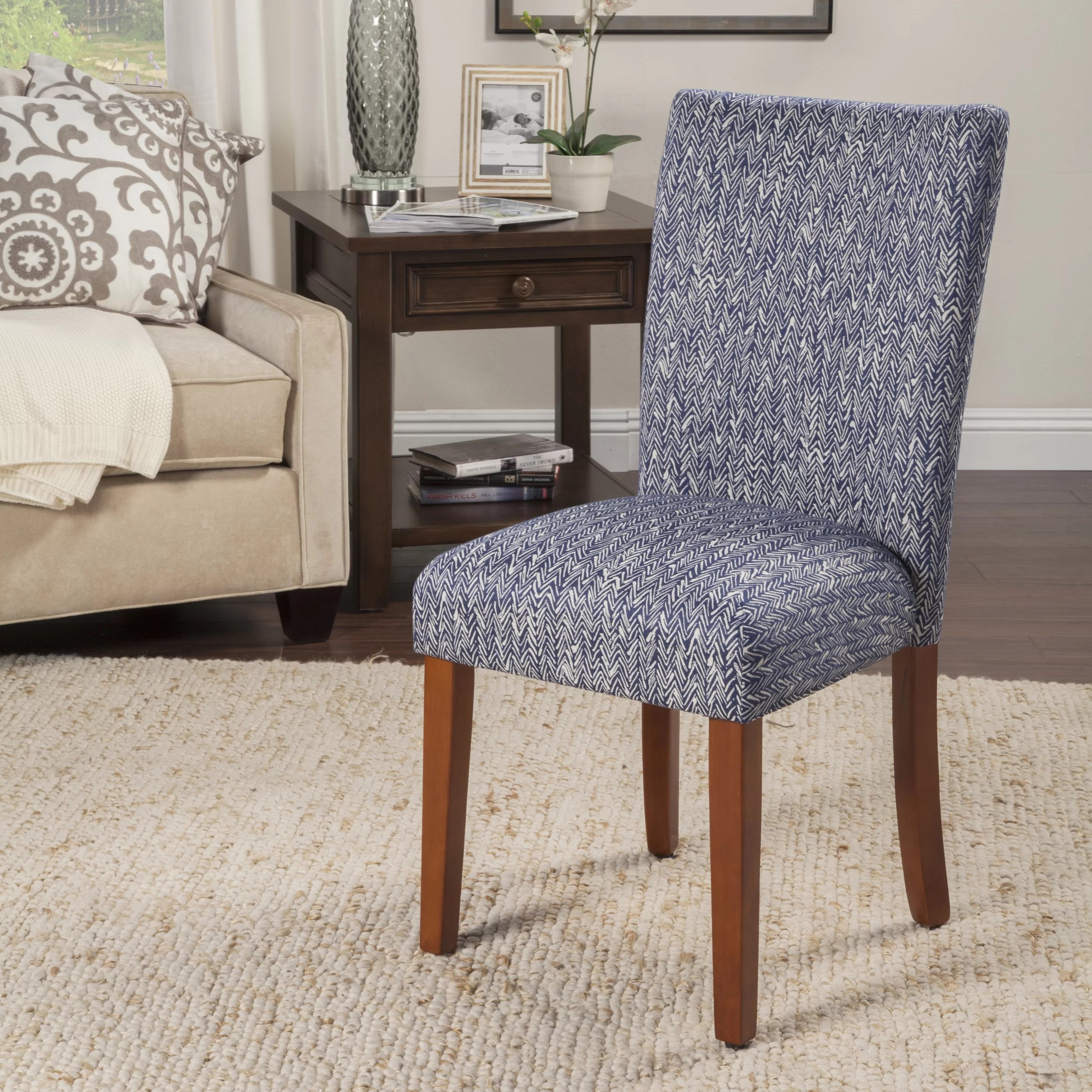 Blue Parsons Chair Homepop Upholstered Parsons Chair In Blue And Reviews Wayfair