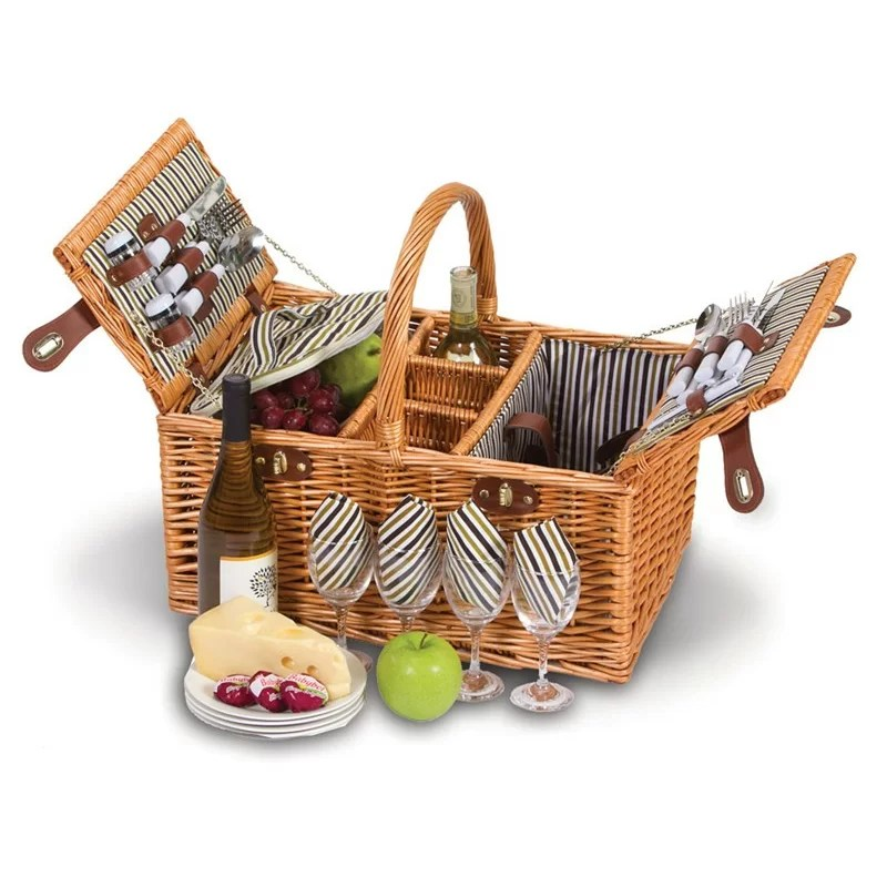 Picnic Plus by Spectrum Dilworth 4 Person Picnic Basket with Removable Insulated Cooler & Reviews | Wayfair