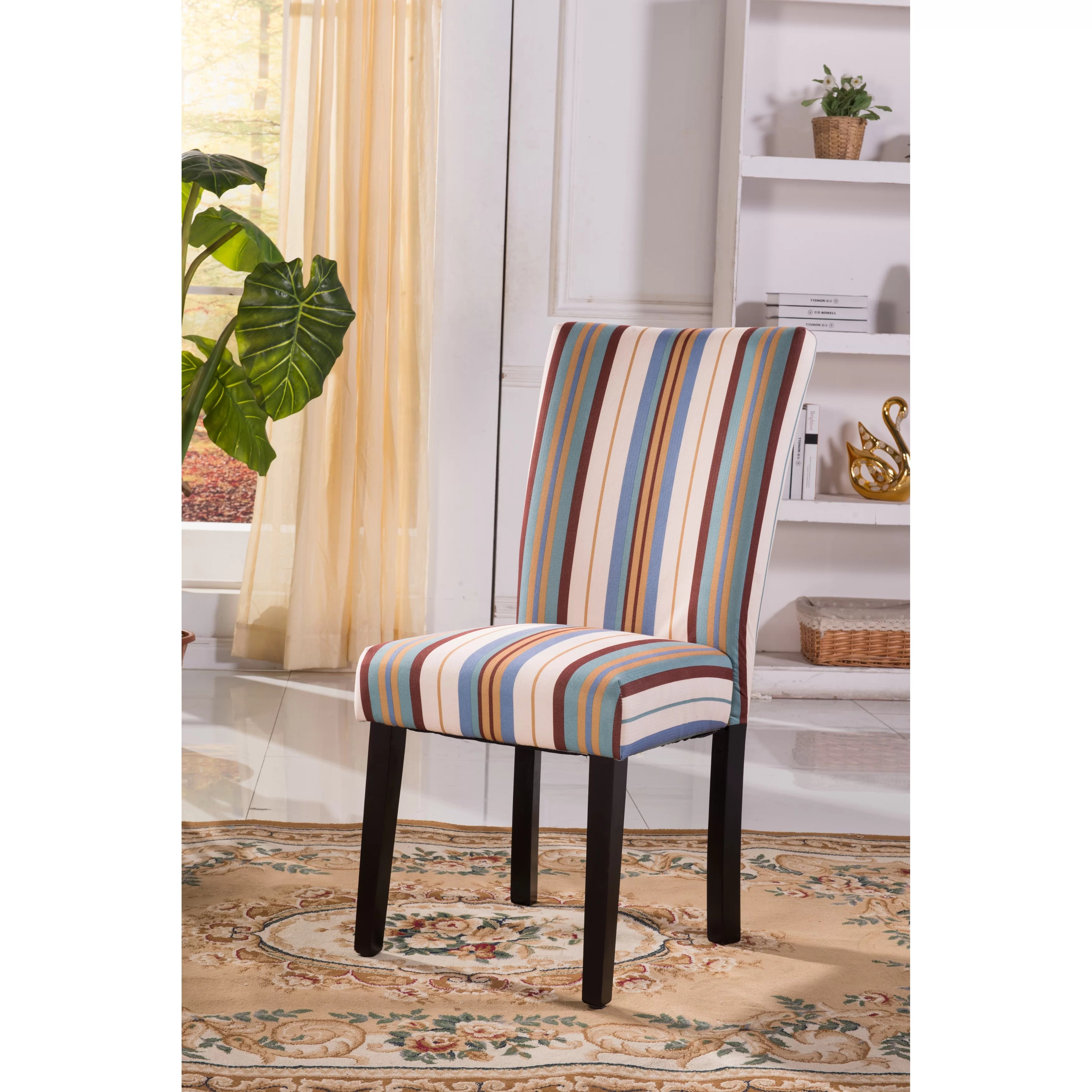Print Parsons Chair Bellasario Collection Contemporary Striped Print Pattern