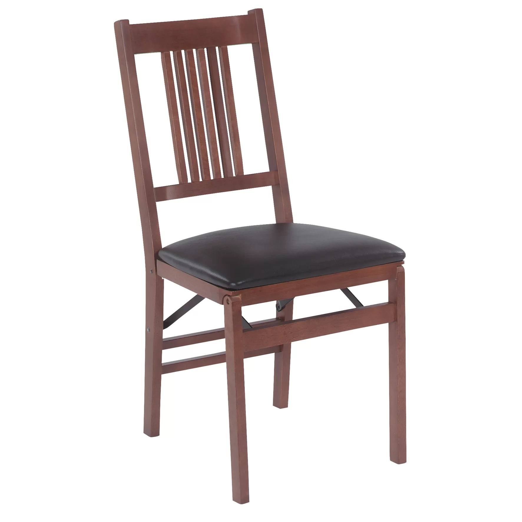 Stakmore Folding Chair Stakmore True Mission Wood Folding Chair With Vinyl Seat