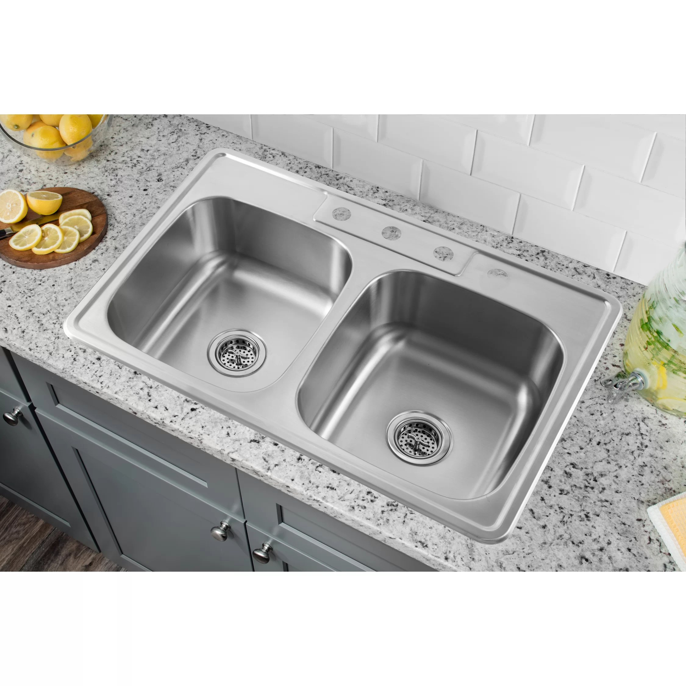 stainless steel kitchen sinks 33 x 22 compost bin for soleil quot drop in double bowl