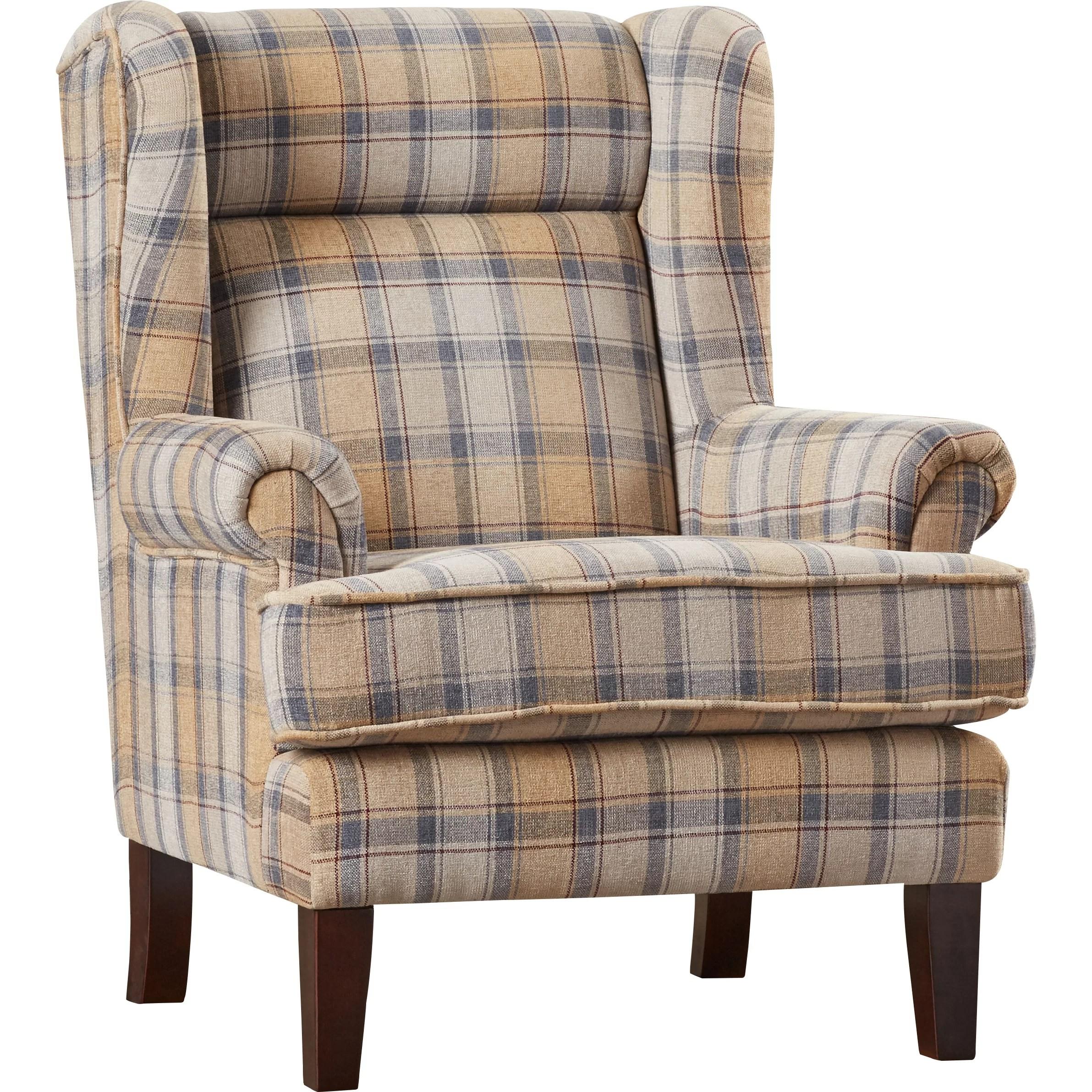 Darby Home Co Finley Plaid Print Wingback Chair  Wayfair