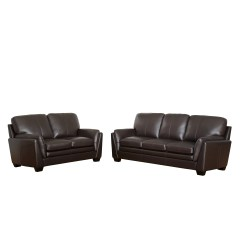 Montclair Top Grain Leather Sofa And Loveseat Set 100 Bed Darby Home Co Whitstran