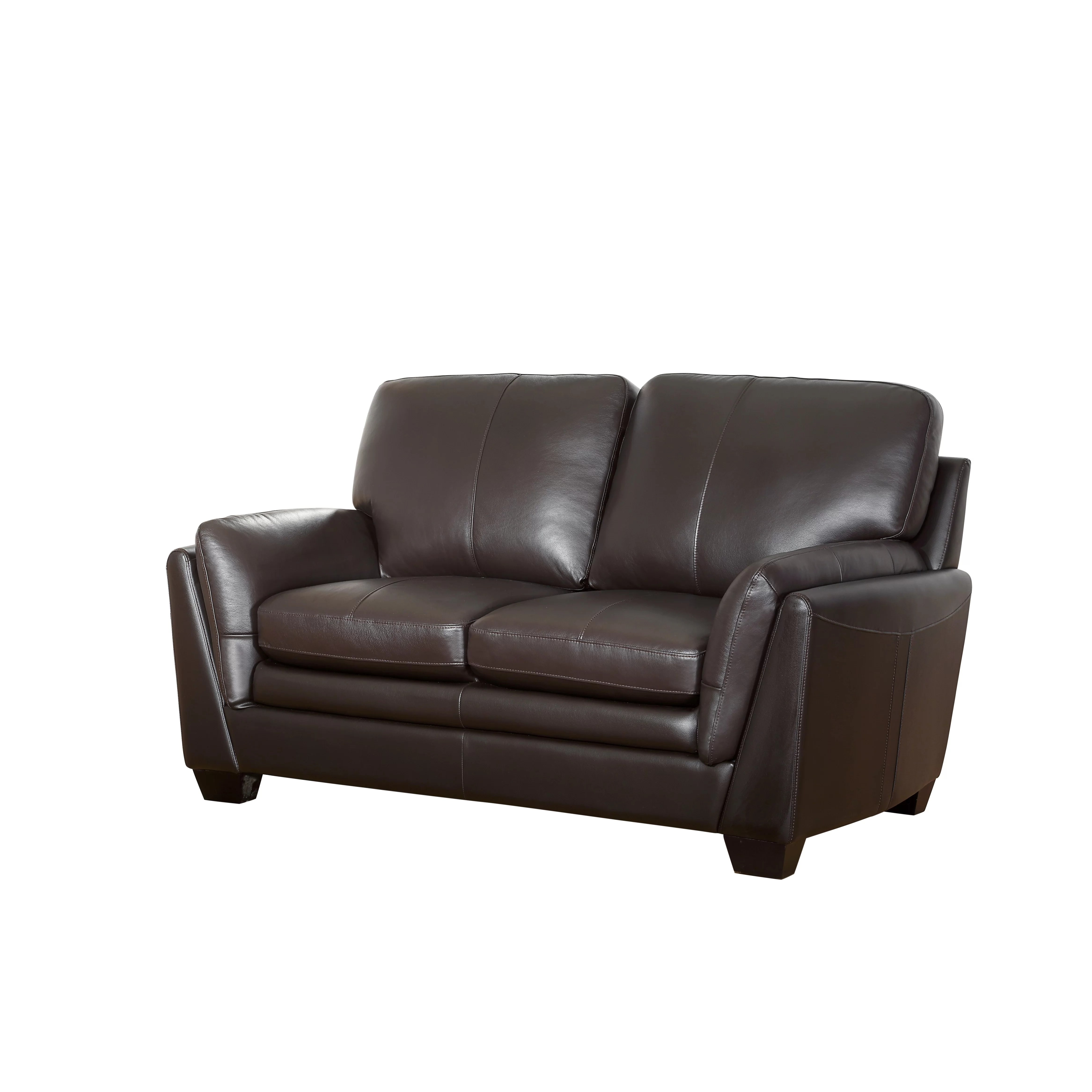 montclair top grain leather sofa and loveseat set vinegar to clean fabric darby home co whitstran