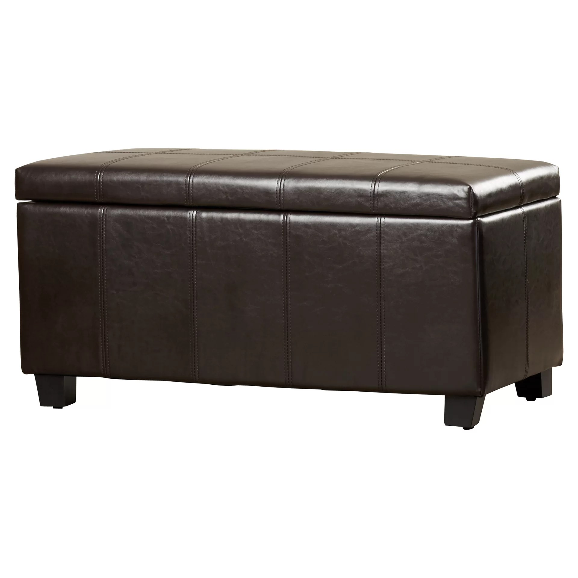 Alcott Hill Hampshire Leather Storage Ottoman & Reviews