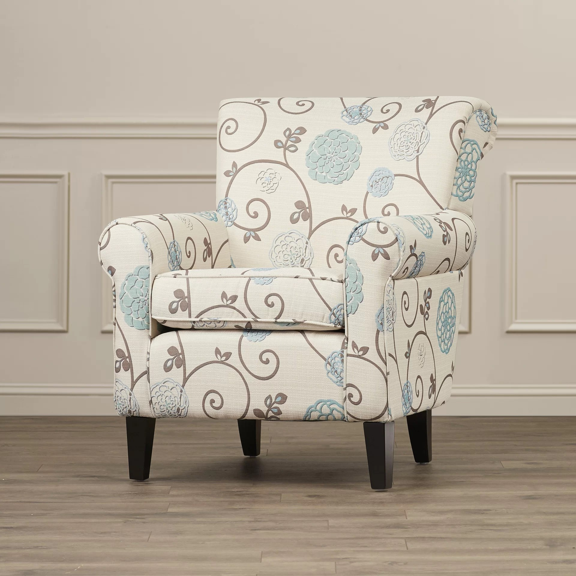 Upholstered Club Chair Alcott Hill Wadham Flowered Upholstered Club Chair