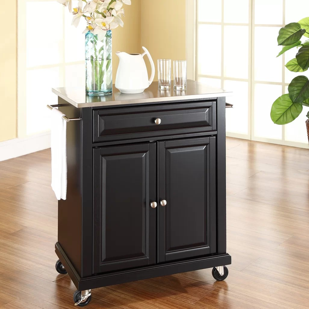 kitchen cart with stainless steel top cabinets shelves charlton home bainbridge