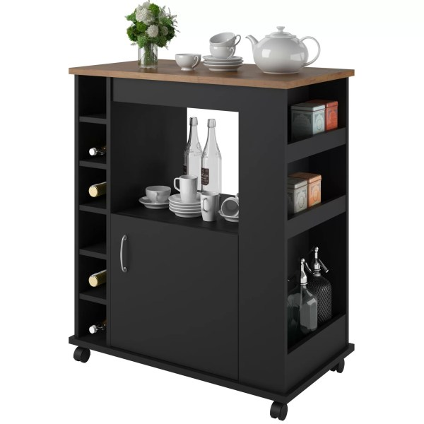 Charlton Home Worcester Kitchen Cart With Wood Top In Black &