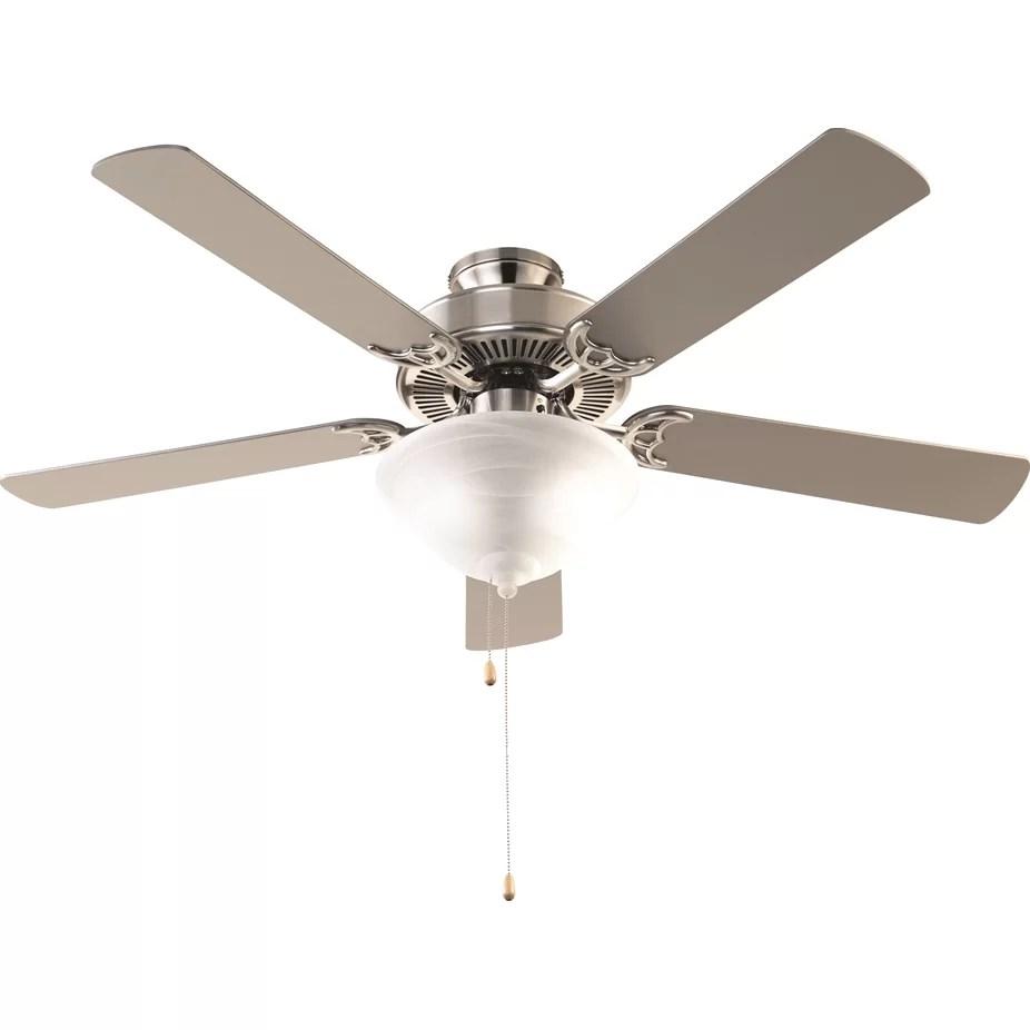 """Charlton Home 52"""" Leesburg 3 Light 5 Blade Ceiling Fan"""