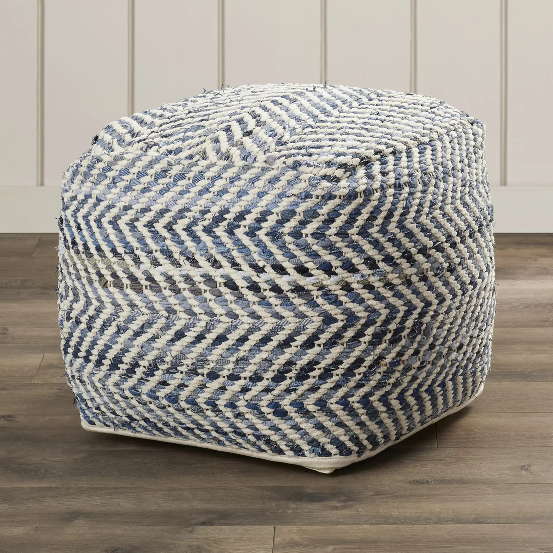 Pouf Chair Beachcrest Home Lubec Chevron Pouf Ottoman And Reviews Wayfair