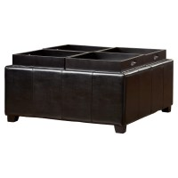 House of Hampton Dandridge Leather Tray Storage Ottoman ...