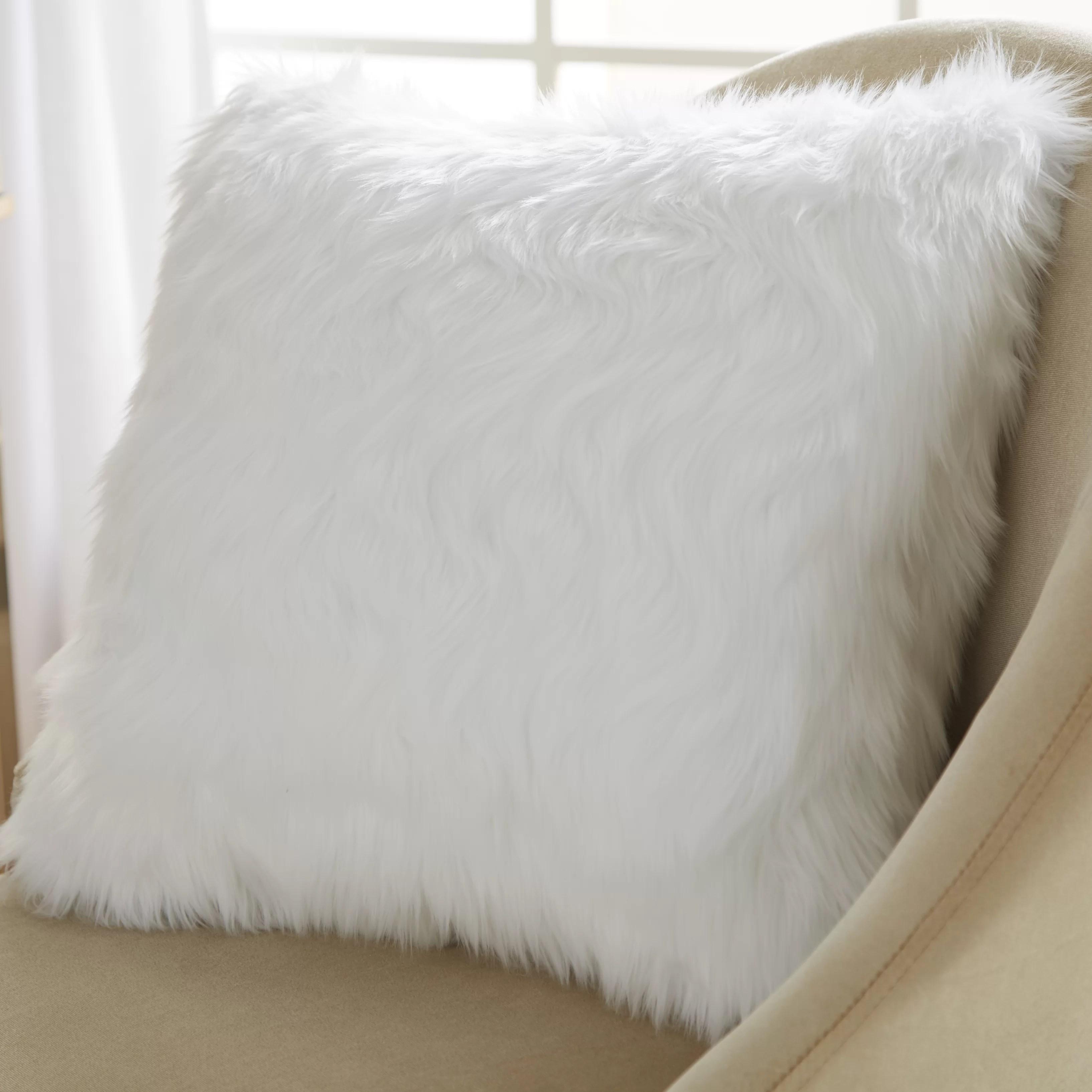 House of Hampton Faux Fur Throw Pillow  Reviews  Wayfair