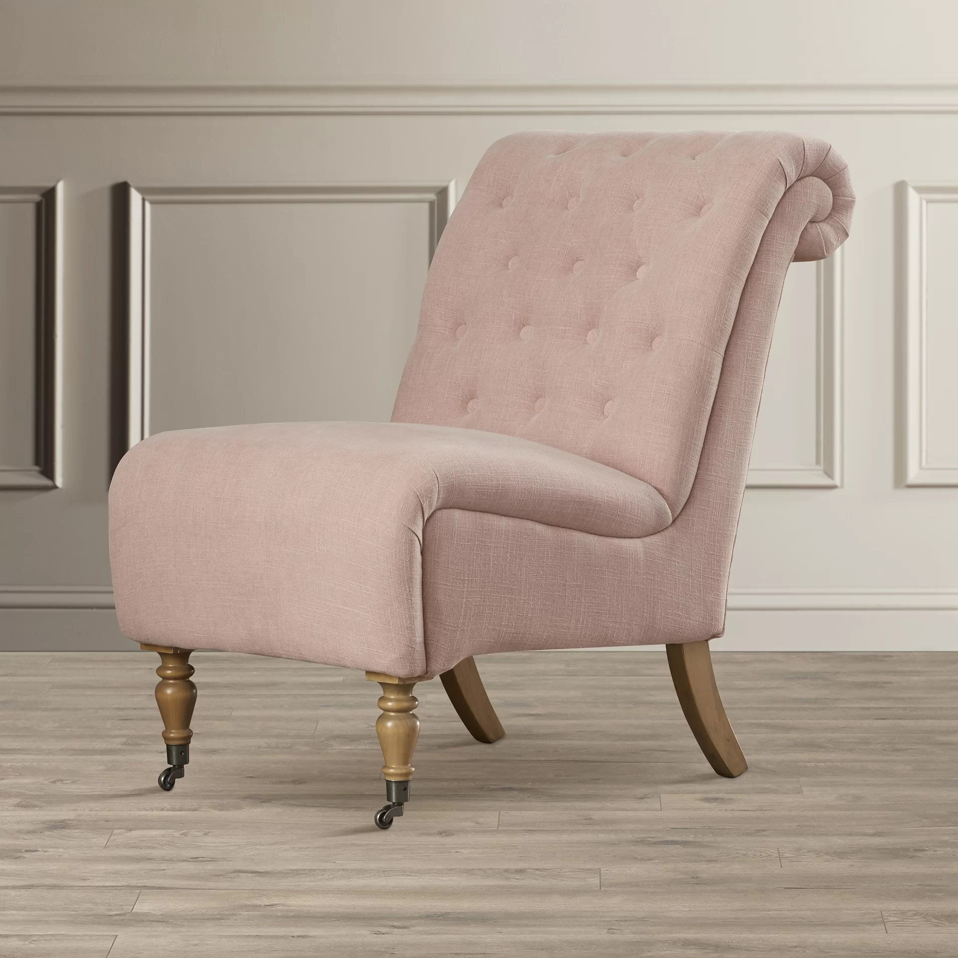 Tufted Slipper Chair House Of Hampton Cyclamen Roll Back Tufted Slipper Chair