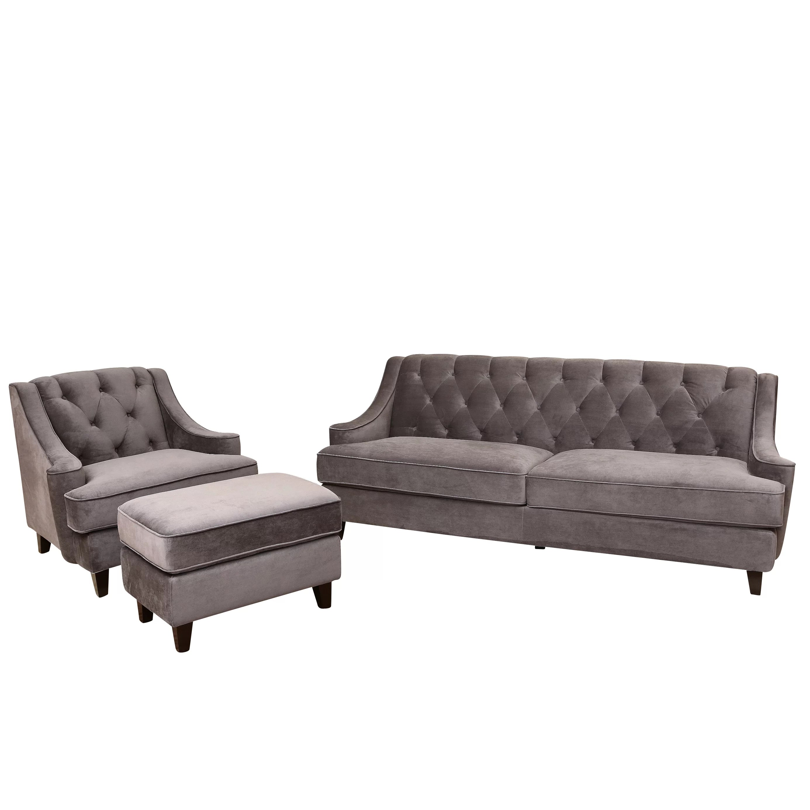 chloe velvet tufted sofa living room furniture collection elegant and comfortable set house of hampton scarborough 3 piece