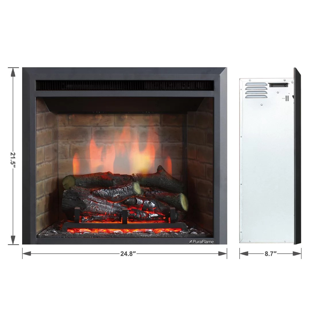 "30 Greystone Electric Fireplace Fireplace Inspiration Puraflame 33"" Black 750/1500w Western Wall Mount Electric"