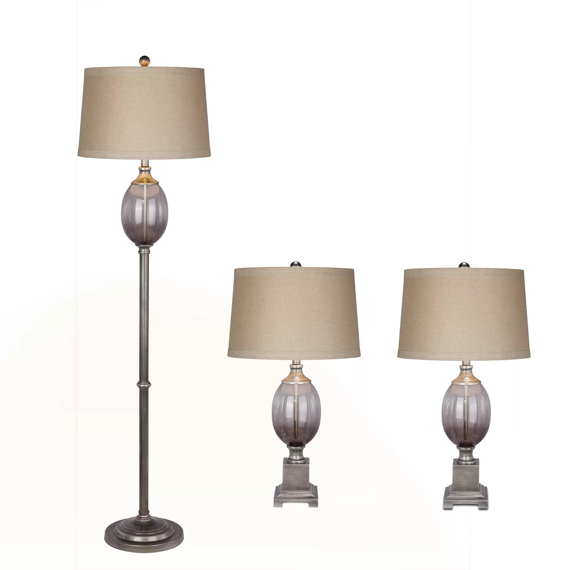 Fangio 3 Piece Table and Floor Lamp Set & Reviews