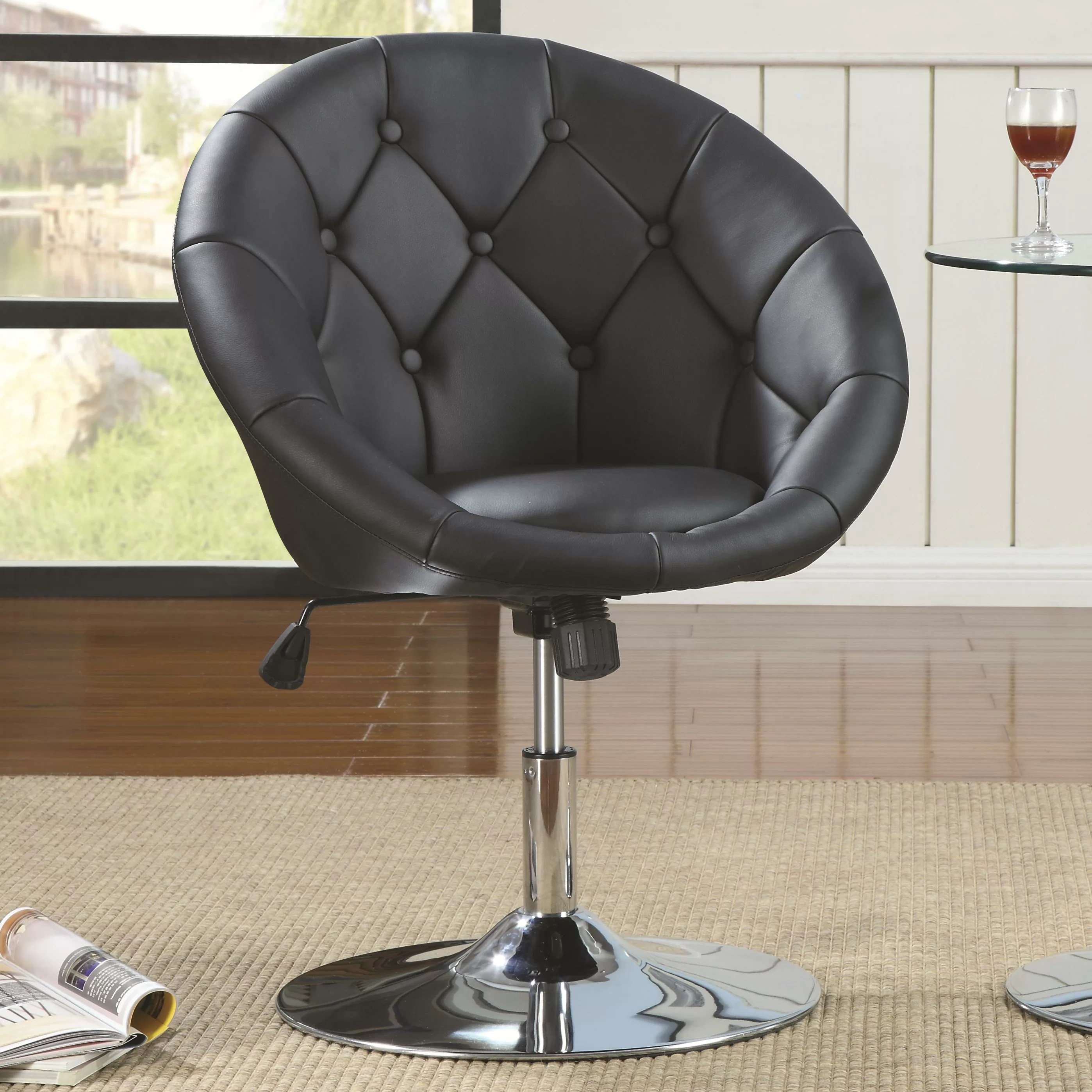 Modern Barrel Chair Roundhill Furniture Noas Contemporary Tufted Back Tilt