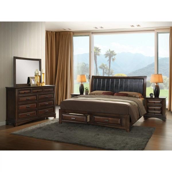 Roundhill Furniture Broval Platform 5 Piece Bedroom Set