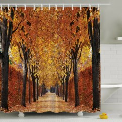 Fall Kitchen Curtains Clear Cabinet Knobs Ambesonne Perspective Print Shower Curtain And Reviews