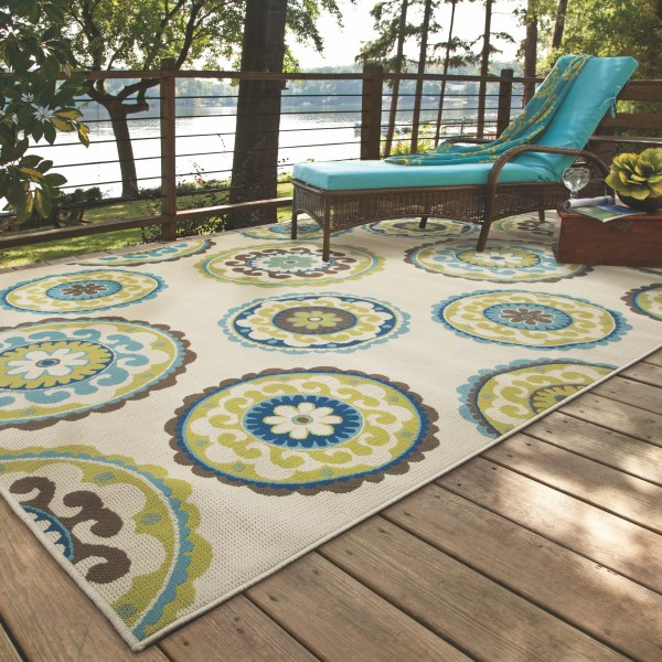 outdoor patio rug Bungalow Rose Capri Beige/Green Indoor/Outdoor Area Rug & Reviews | Wayfair