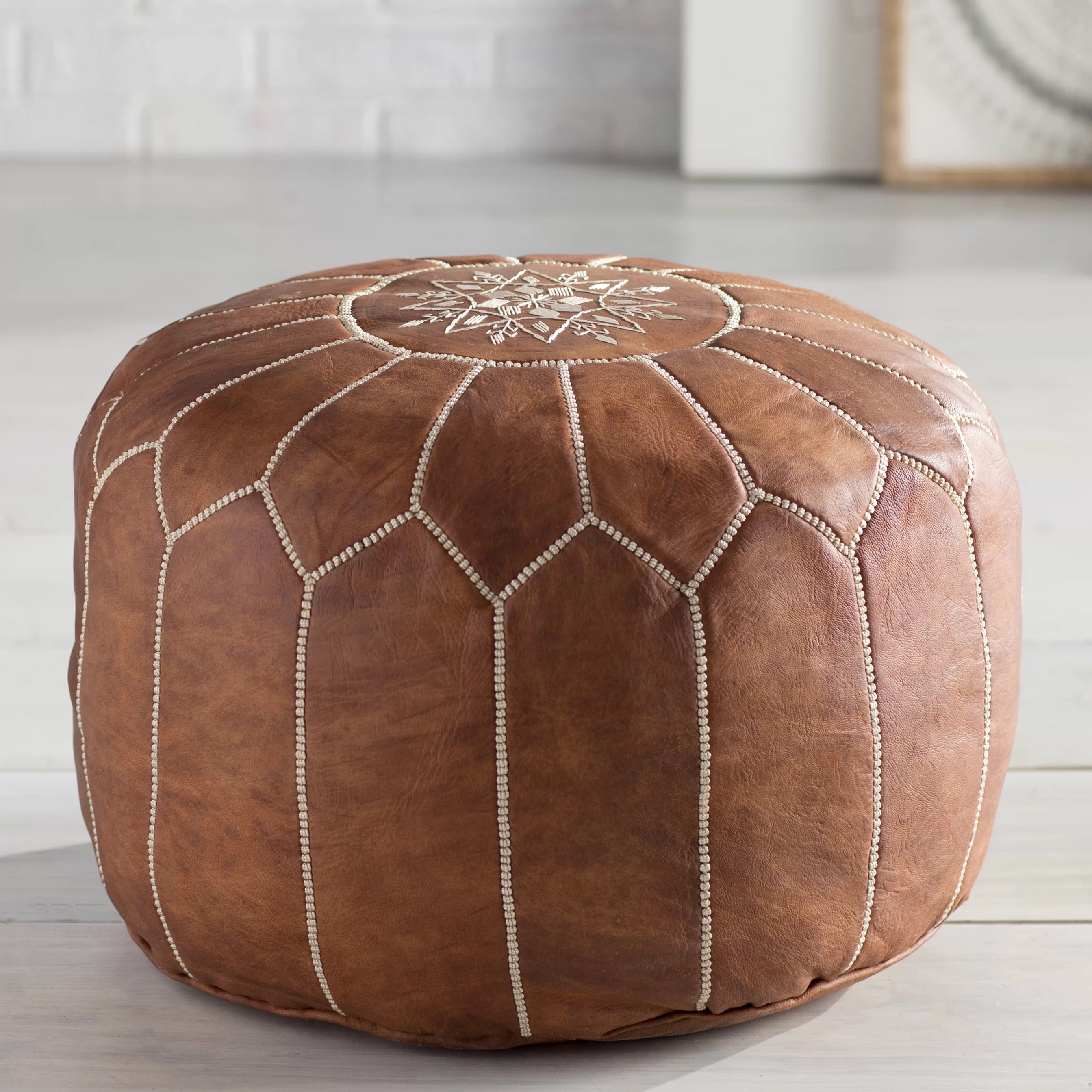 Pouf Chair Bungalow Rose Soukaina Leather Pouf Ottoman And Reviews