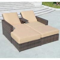 Outsunny 4 Piece Double Chaise Lounge with Cushion ...
